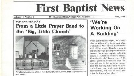 Church History - First Baptist Church of College Park